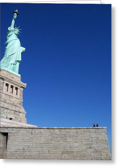 Statue And Sky Greeting Card by Katie Beougher