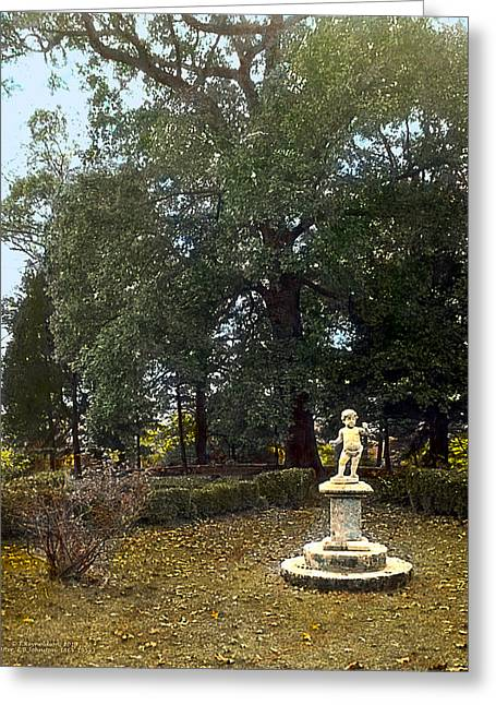 Kinkade Greeting Cards - Statue and Tree Greeting Card by Terry Reynoldson
