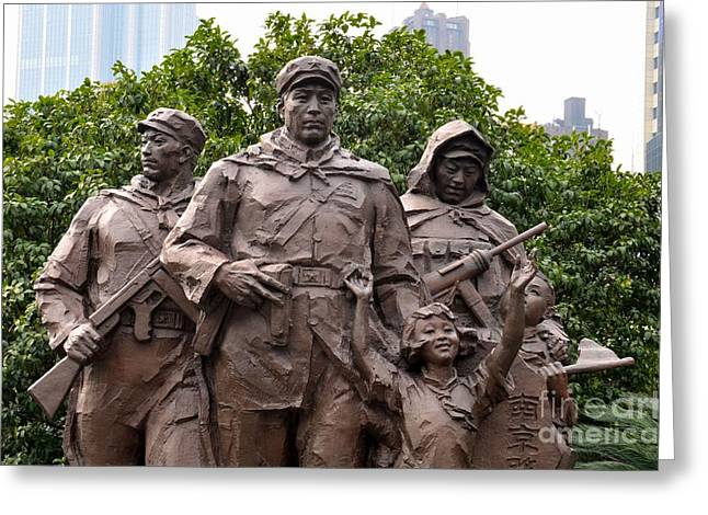 Liberation Greeting Cards - Statue depicting glory of Chinese Communist Party Shanghai China Greeting Card by Imran Ahmed