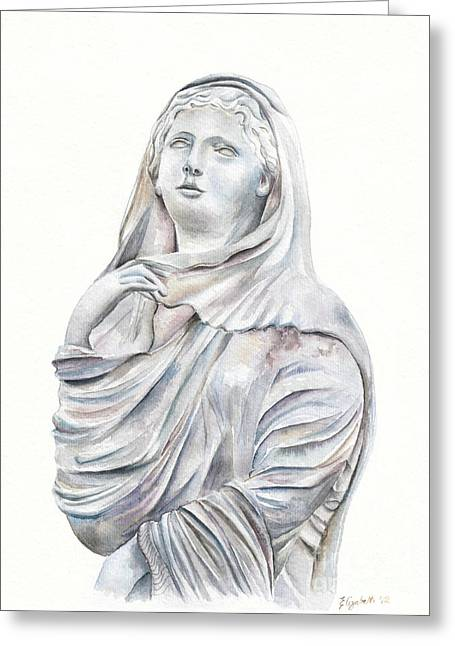 Statue Portrait Paintings Greeting Cards - Statue Greeting Card by Elizabeth Lock