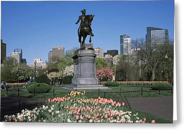 The Horse Greeting Cards - Statue In A Garden Paul Revere Statue Greeting Card by Panoramic Images