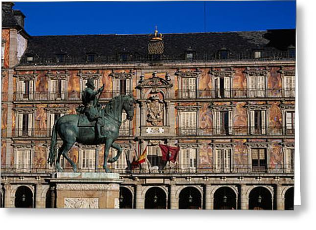 Horse Images Greeting Cards - Statue In Front Of A Building, Plaza Greeting Card by Panoramic Images