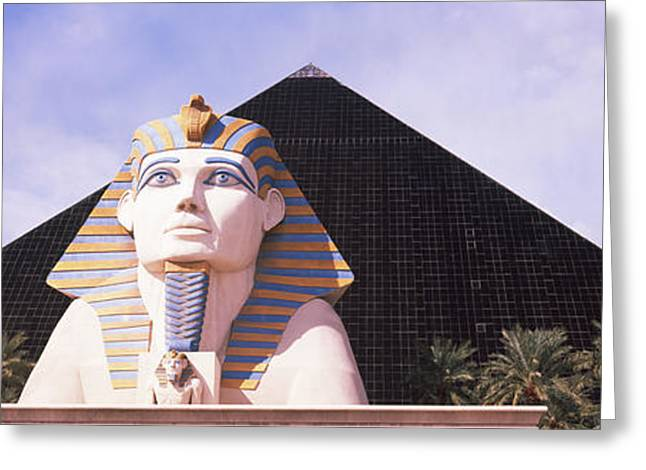 Luxor Greeting Cards - Statue In Front Of A Hotel, Luxor Las Greeting Card by Panoramic Images