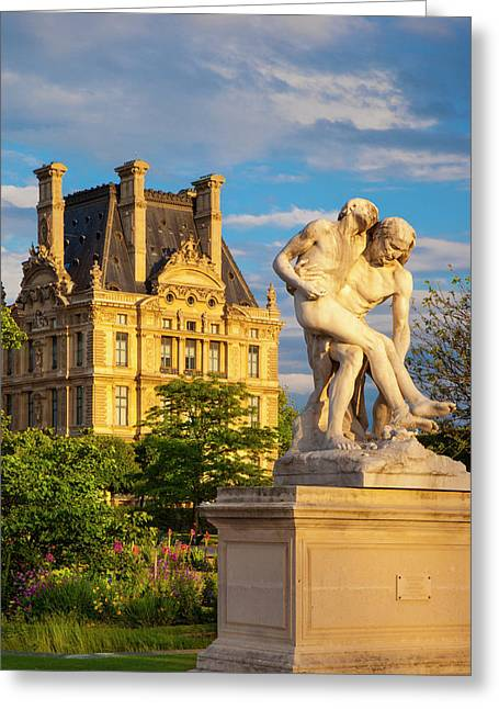 Statue In Jardin Des Tuileries Greeting Card by Brian Jannsen