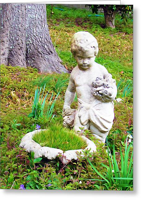 Marble Eye Paintings Greeting Cards - Statue in the garden Greeting Card by Lanjee Chee