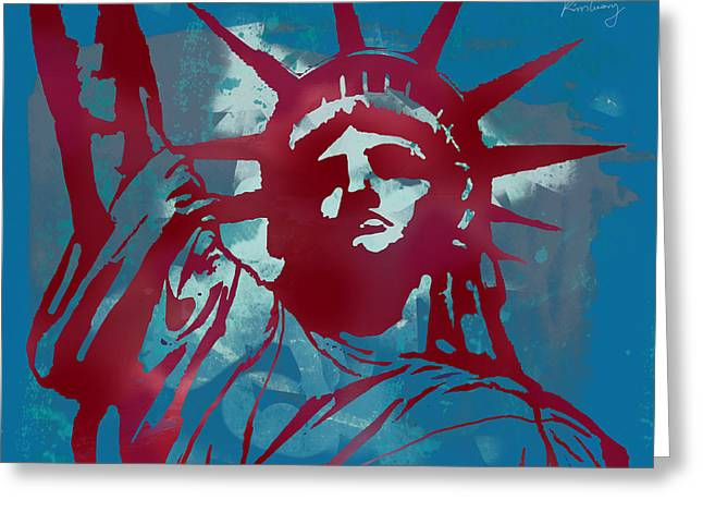 Pop Can Greeting Cards - Statue Liberty - pop stylised art poster Greeting Card by Kim Wang
