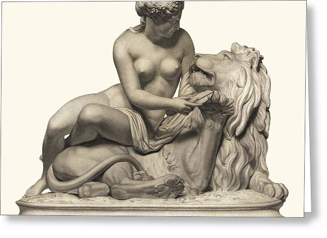 Pieces Sculptures Greeting Cards - Statue Woman and Lion Greeting Card by Private Collection