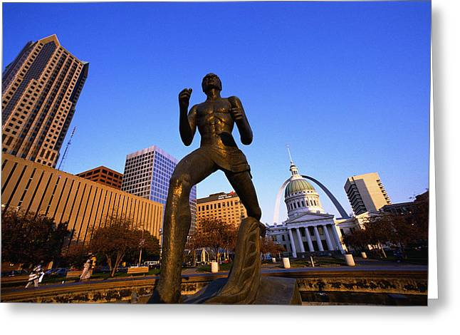 Statue Near Old Courthouse St Louis Mo Greeting Card by Panoramic Images