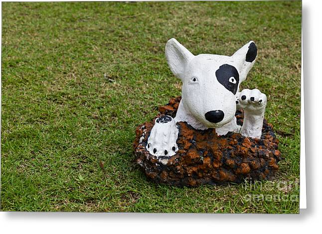 Brown Head Sculpture Greeting Cards - Statue Of A Dog Decorated On The Lawn Greeting Card by Tosporn Preede