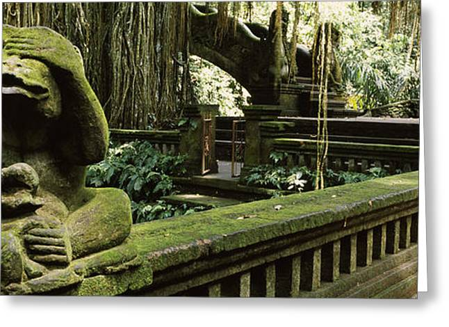 Evil Place Greeting Cards - Statue Of A Monkey In A Temple, Bathing Greeting Card by Panoramic Images