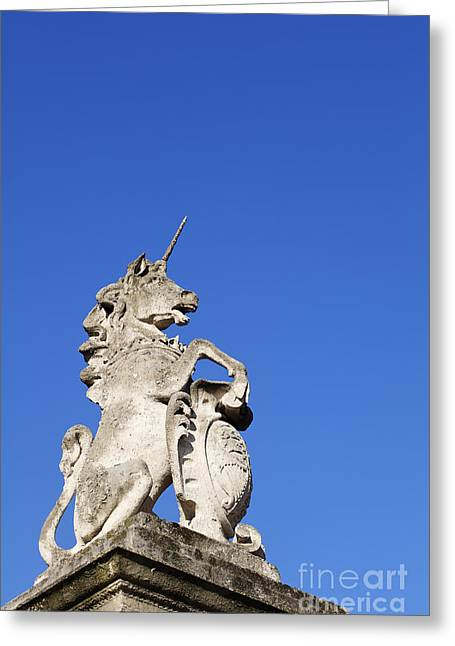 Scuplture Greeting Cards - Statue of a unicorn on the walls of Buckingham Palace in London England Greeting Card by Robert Preston