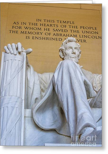 Slave Labor Greeting Cards - Statue of Abe Lincoln Greeting Card by Patricia Hofmeester