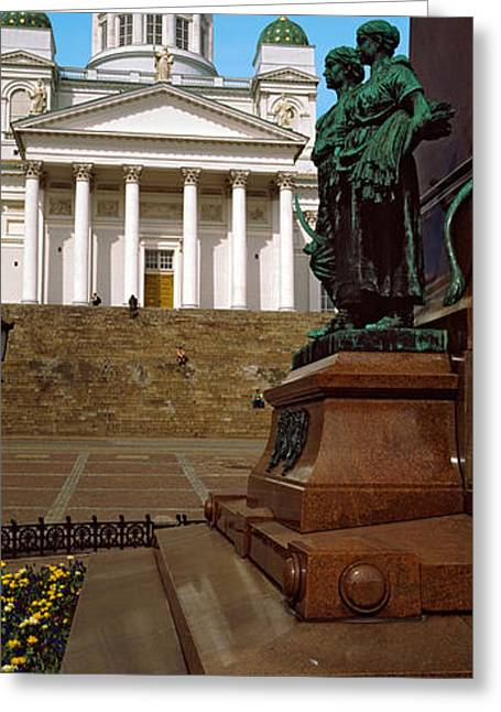 Tsar Alexander Greeting Cards - Statue Of Alexander Ii In Front Greeting Card by Panoramic Images