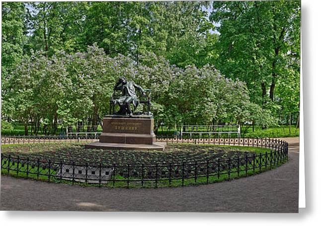 Garden Scene Greeting Cards - Statue Of Alexander Pushkin Greeting Card by Panoramic Images