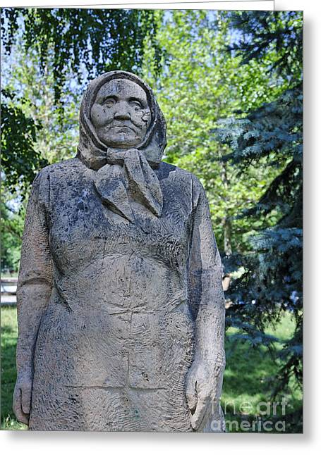 Central Asia Greeting Cards - Statue of an old woman in Dubovy Park in Bishkek Kyrgyzstan Greeting Card by Robert Preston
