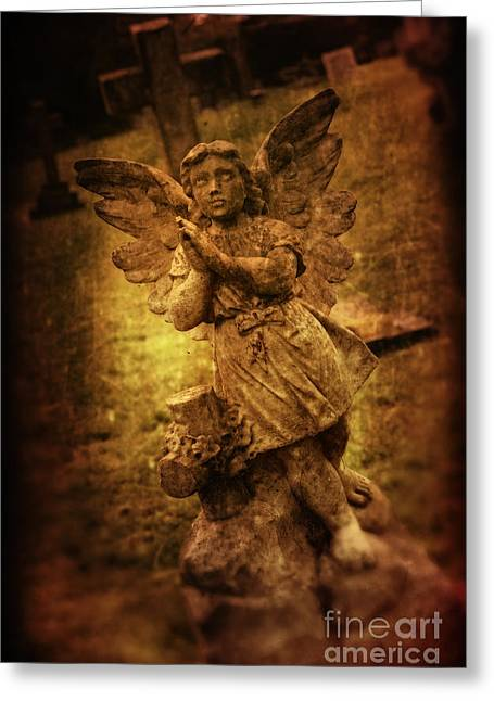 Angel Statue Greeting Cards - Statue Of Angel Greeting Card by Amanda And Christopher Elwell