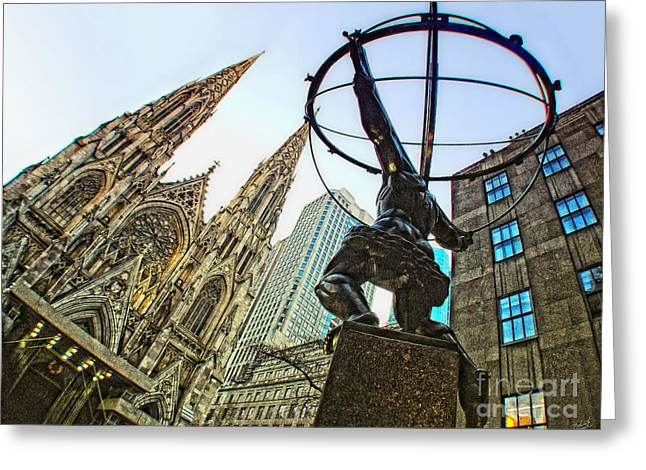 Prometheus Greeting Cards - Statue of Atlas facing St.Patricks Cathedral Greeting Card by Nishanth Gopinathan