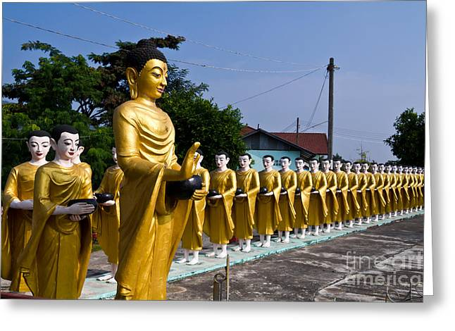 Statue Portrait Greeting Cards - Statue of Buddha and disciples are alms round Greeting Card by Tosporn Preede