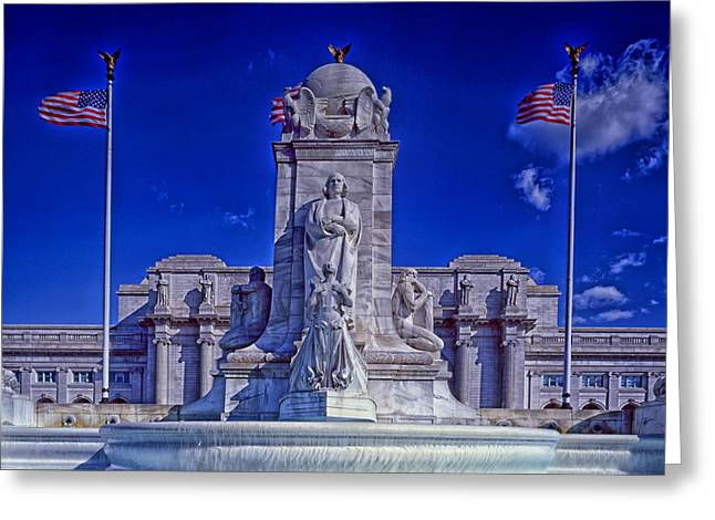 Historic Statue Greeting Cards - Statue of Christopher Columbus in Front Union Terminal - Washington DC Greeting Card by Mountain Dreams