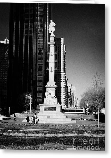 Manhatan Greeting Cards - statue of Christopher Columbus on columbus circle new york city Greeting Card by Joe Fox