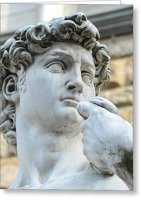 Michelangelo Greeting Cards - statue of David by Michelangelo on the Piazza della Signoria Greeting Card by Brandon Bourdages