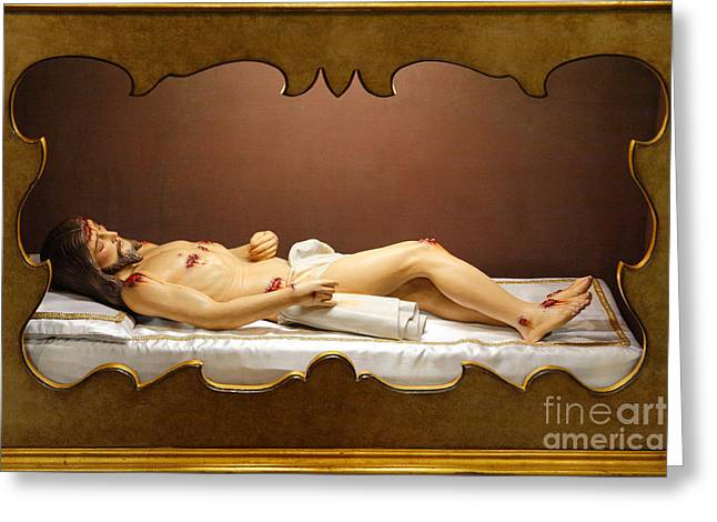 Sacred Body Greeting Cards - Statue of Dead Christ Greeting Card by Gaspar Avila