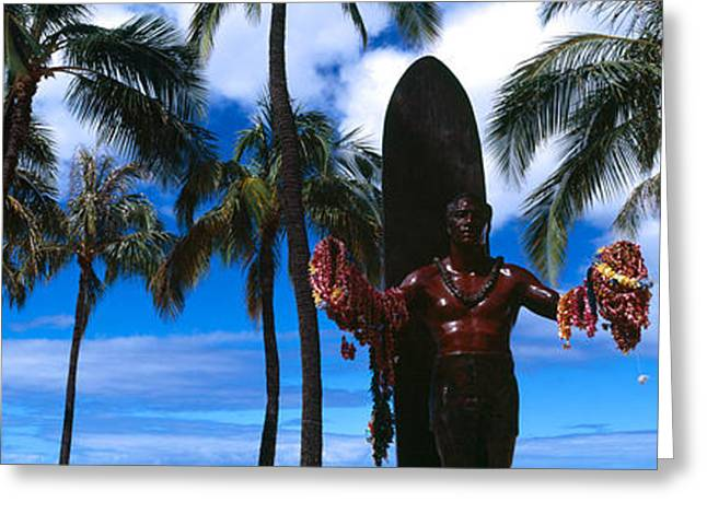Surfer Images Greeting Cards - Statue Of Duke Kahanamoku, Duke Greeting Card by Panoramic Images