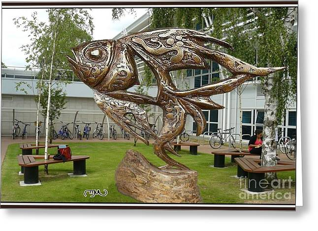 Digital Sculptures Greeting Cards - Statue of fish in the garden SOFITG1 Greeting Card by Pemaro