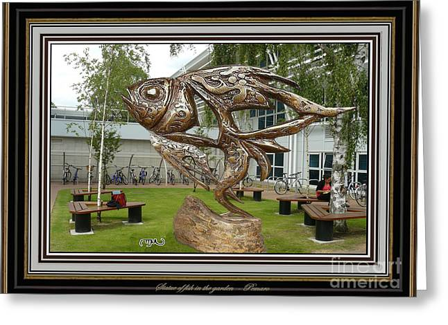 Digital Sculptures Greeting Cards - Statue of fish in the garden SOFITG2 Greeting Card by Pemaro