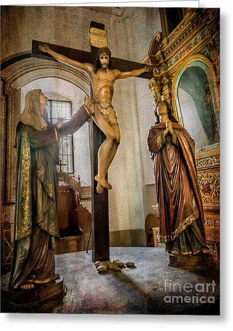 Statue Of Jesus Greeting Card by Adrian Evans