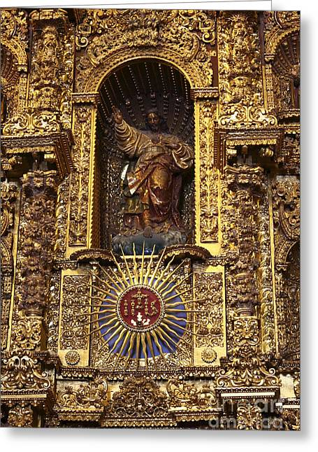 Retablos Greeting Cards - Statue of Jesus on Altarpiece Greeting Card by James Brunker