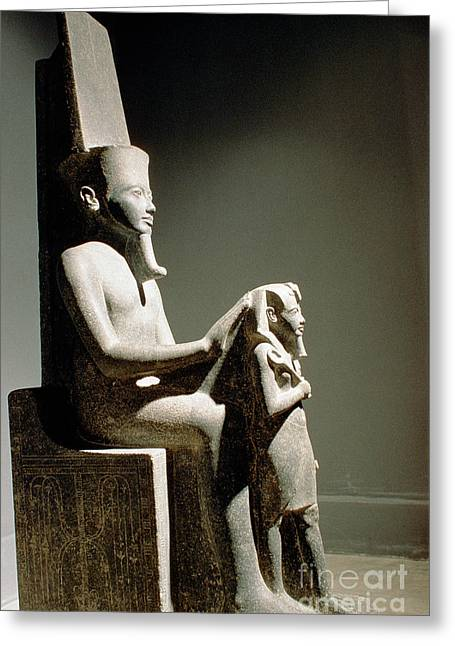 Amen Greeting Cards - Statue Of King Horemheb With God Amun Greeting Card by Adam Sylvester