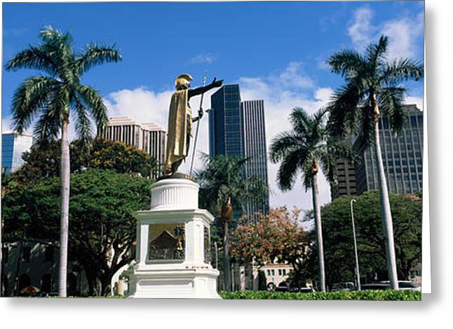 Statue Of King Kamehameha In Front Greeting Card by Panoramic Images