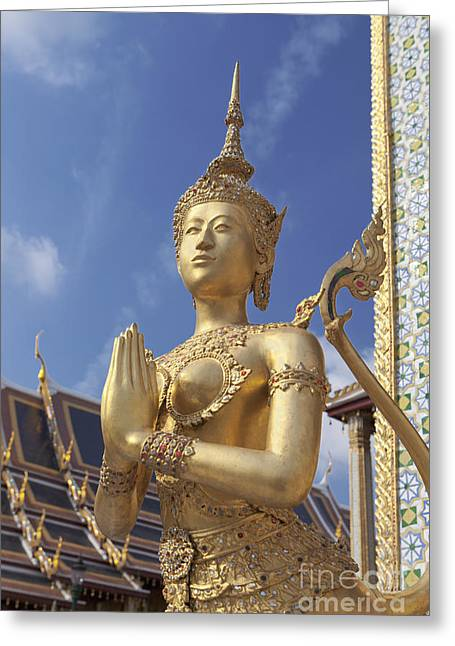 Grand Gestures Greeting Cards - Statue of Kinnari at the Royal Grand Palace in Bangkok Greeting Card by Roberto Morgenthaler
