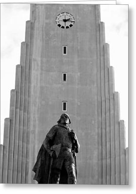 Cathedral Rock Greeting Cards - Statue of Leifur Eiriksson Greeting Card by David Broome