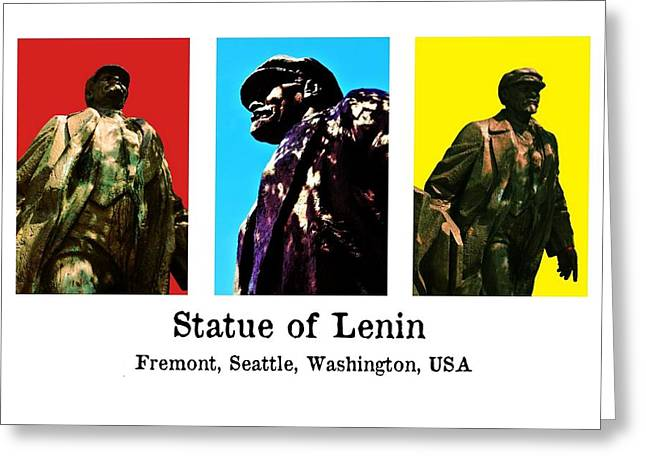 Lenin Greeting Cards - Statue of Lenin - Fremont Greeting Card by Benjamin Yeager