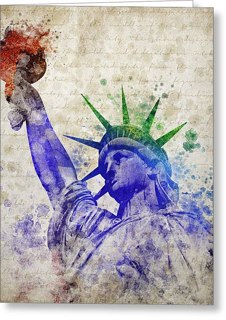 Libertas Greeting Cards - Statue of Liberty Greeting Card by Aged Pixel