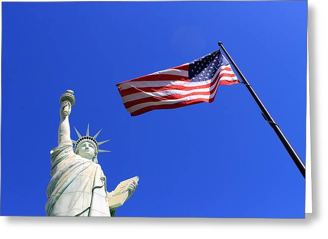 Patriotic Photography Greeting Cards - Statue of Liberty and American Flag Greeting Card by Frank Romeo