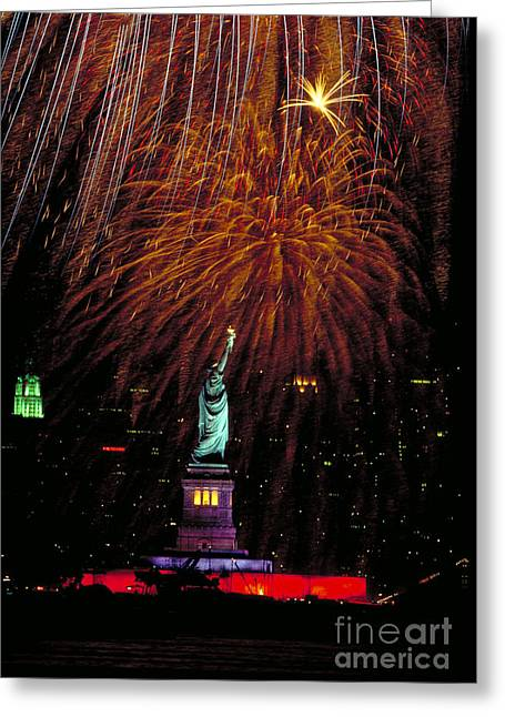 Patriotic Greeting Card Greeting Cards - Statue Of Liberty And Fireworks Greeting Card by Ken Cavanagh