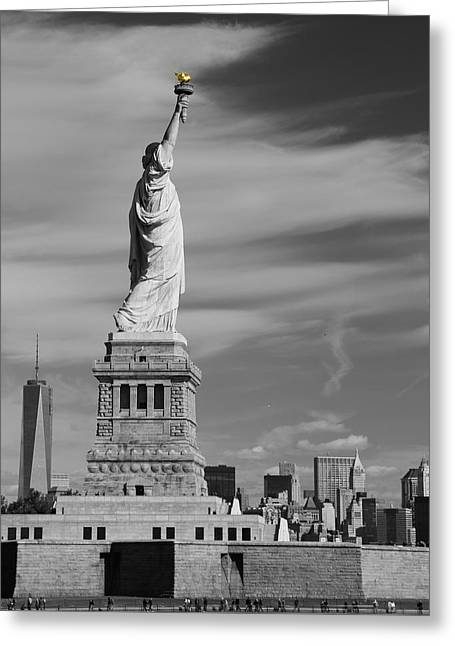Burning Statue Greeting Cards - Statue Of Liberty And The Freedom Tower Greeting Card by Dan Sproul