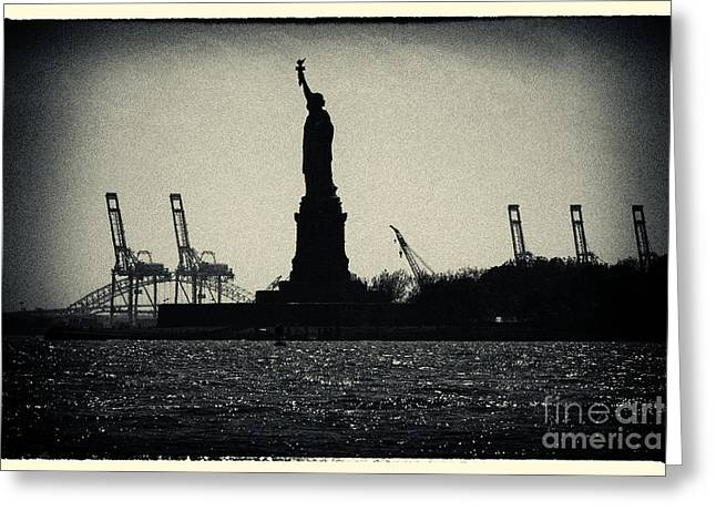 Filmnoir Greeting Cards - Statue of Liberty and Waterfront New York City Greeting Card by Sabine Jacobs