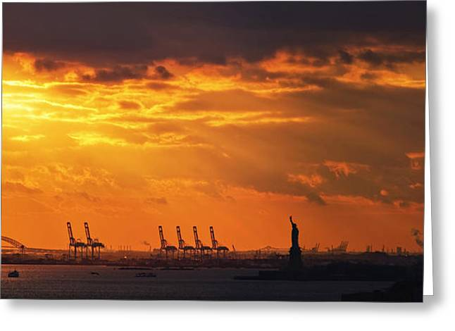 Sunset Posters Greeting Cards - Statue Of Liberty At Sunset. Greeting Card by Alex Potemkin