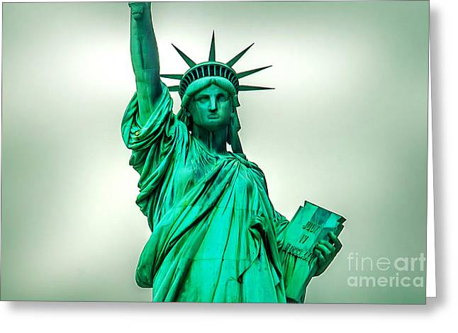 Foggy Day Greeting Cards - Statue Of Liberty Greeting Card by Az Jackson