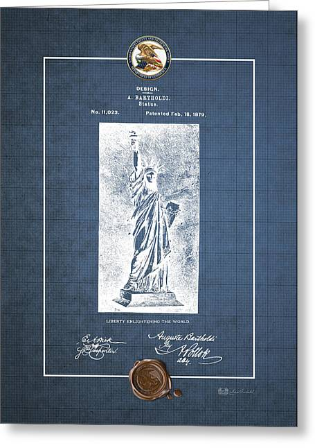 Bartholdi Greeting Cards - Statue of Liberty by A. Bartholdi - Vintage Patent Blueprint Greeting Card by Serge Averbukh