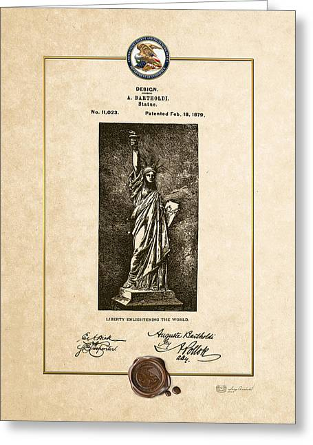 Bartholdi Greeting Cards - Statue of Liberty by A. Bartholdi - Vintage Patent Document Greeting Card by Serge Averbukh