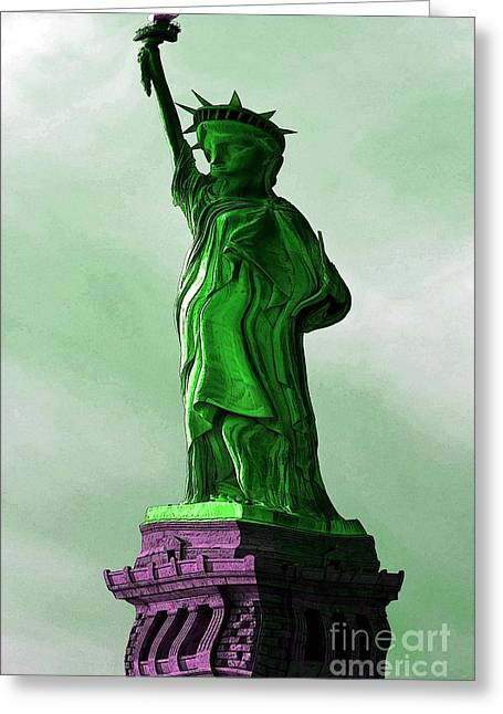 Warp Greeting Cards - Statue of Liberty Caricature Greeting Card by Sophie Vigneault