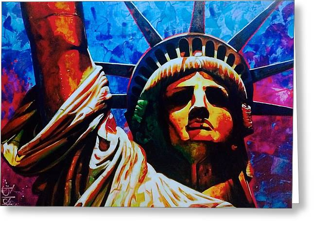 Etc. Paintings Greeting Cards - Statue of Liberty Greeting Card by Carlos Blanco