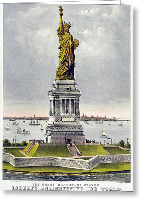 Currier Paintings Greeting Cards - Statue of Liberty Greeting Card by Celestial Images