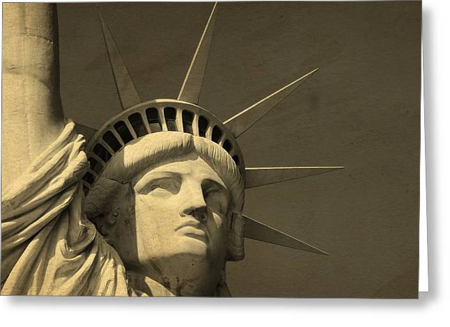 Statue Of Liberty Closeup  Greeting Card by Dan Sproul