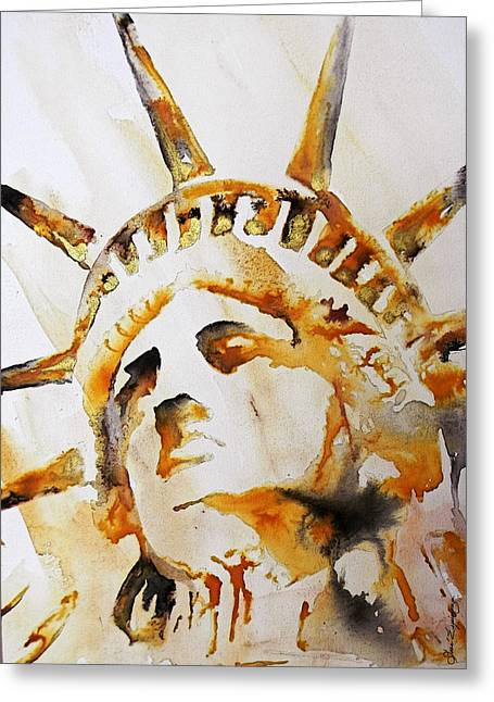 Unique Art Greeting Cards - STATUE OF LIBERTY closeup Greeting Card by Jose Espinoza